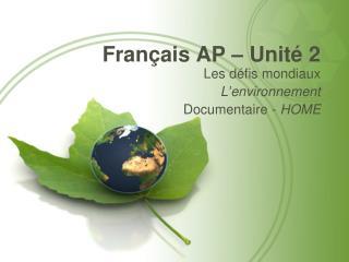 Français AP – Unité 2
