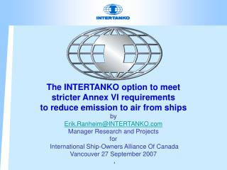 Annex VI – Emission to air from ships