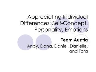 Appreciating Individual Differences: Self-Concept, Personality, Emotions