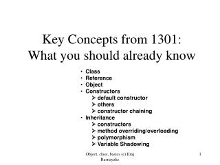Key Concepts from 1301: What you should already know
