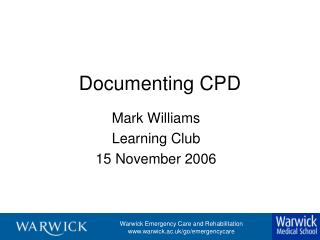 Documenting CPD
