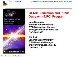 GLAST  Education and Public Outreach (E/PO) Program Lynn Cominsky Sonoma State University