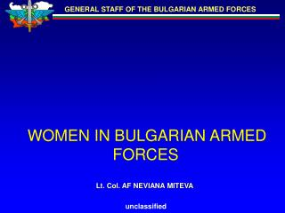 WOMEN IN BULGARIAN ARMED FORCES