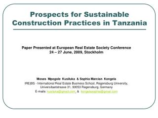 Prospects for Sustainable Construction Practices in Tanzania