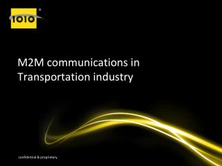 M2M communications in Transportation industry