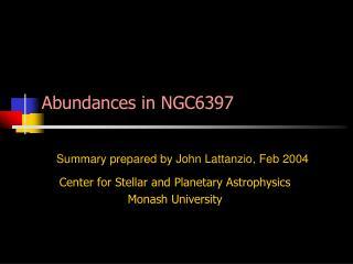 Abundances in NGC6397