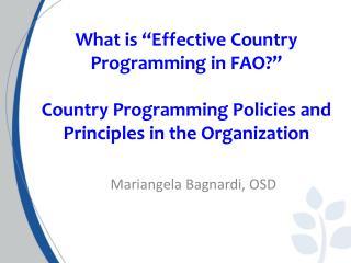 Mariangela Bagnardi, OSD