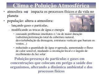 Clima e Poluição Atmosférica
