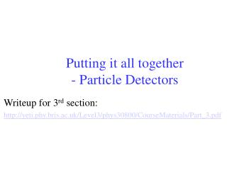 Putting it all together - Particle Detectors