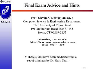 Final Exam Advice and Hints