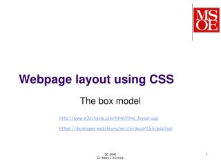 Webpage layout using CSS