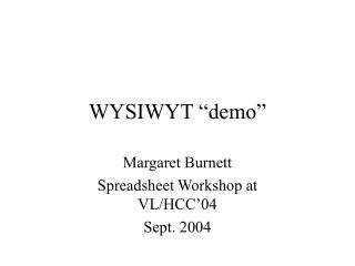 """WYSIWYT """"demo"""""""