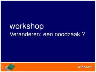 workshop Veranderen: een noodzaak!?