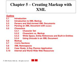Chapter 5  – Creating Markup with XML