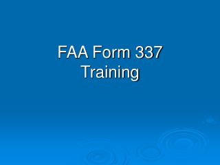 FAA Form 337 Training