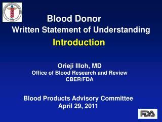 Blood Donor     Written Statement of Understanding