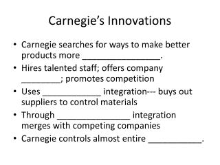 Carnegie s Innovations