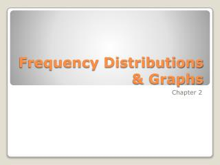 Frequency Distributions  Graphs