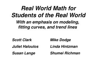 Real World Math for Students of the Real World