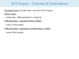2010 August  – Overview of Computations
