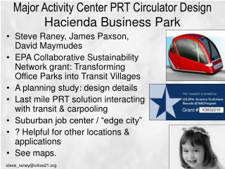Major Activity Center PRT Circulator Design  Hacienda Business Park