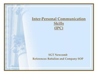 Inter-Personal Communication Skills  (IPC)