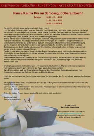 Panca Karma Kur im Schlossgut Oberambach! Termine:02.11. � 17.11.2014 11.01. -  26.01.2015