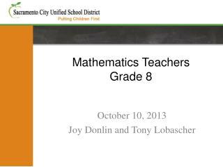 Mathematics Teachers Grade 8