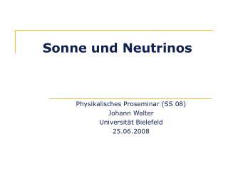 Sonne und Neutrinos