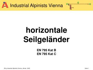 horizontale  Seilgeländer  EN 795 Kat B  EN 795 Kat C