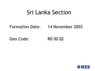 Sri Lanka Section