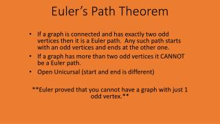 Euler's Path Theorem