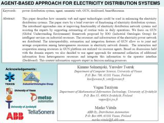 AGENT-BASED APPROACH FOR ELECTRICITY DISTRIBUTION SYSTEMS