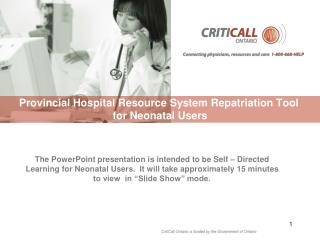Provincial Hospital Resource System Repatriation Tool   for Neonatal Users