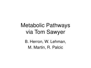 Metabolic Pathways  via Tom Sawyer