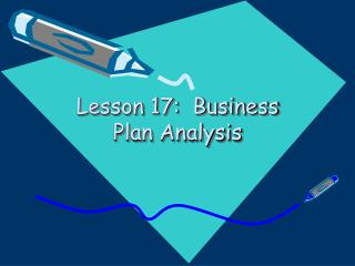 Lesson 17:  Business Plan Analysis