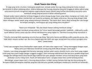 Kisah Tawon dan Elang