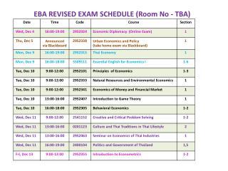 EBA  REVISED EXAM SCHEDULE (Room No - TBA)
