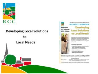 Developing Local Solutions                     to              Local Needs