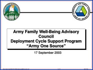 "Army Family Well-Being Advisory Council Deployment Cycle Support Program ""Army One Source"""