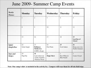 June 2009- Summer Camp Events