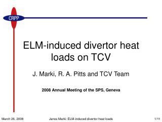 ELM-induced divertor heat loads on TCV