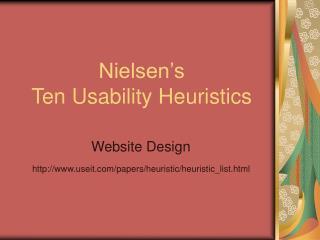 Nielsen's Ten Usability Heuristics