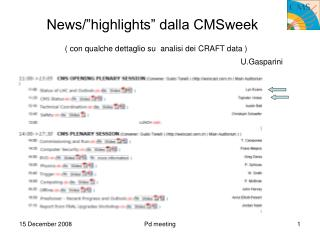 "News/""highlights"" dalla CMSweek"
