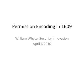 Permission Encoding in 1609