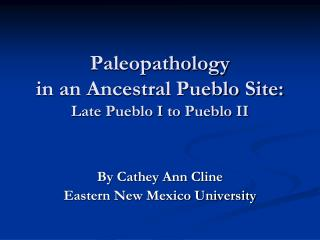 Paleopathology in an Ancestral Pueblo Site: Late Pueblo I to Pueblo II