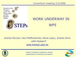 Andrés Monzón, Paul Pfaffenbichler, Elena López, Andrés Olmo UPM-TRANSYT transyt.upm.es