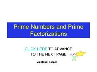 Prime Numbers and Prime Factorizations