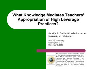 What Knowledge Mediates Teachers' Appropriation of High Leverage Practices?