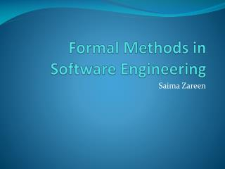 Formal Methods in Software Engineering